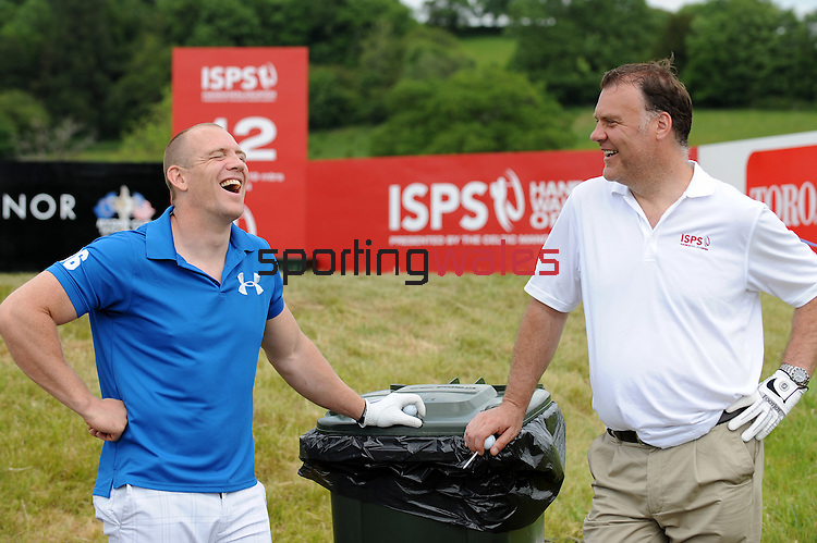 Mike Tindall and Bryn Terfel chat while playing there round...ISPS Handa Wales Open 2012 - Pro Am - Wednesday 30th May 2012 - Twenty Ten Course, Celtic Manor Resport - Newport - Wales - UK ..© www.sportingwales.com- PLEASE CREDIT IAN COOK