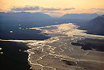 Sunlight glints off Chitina River's many channels, Wrangell-St. Elias National Park, Alaska, USA