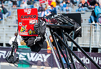 Oct 4, 2020; Madison, Illinois, USA; Detailed view of the rear wing on the dragster of NHRA top fuel driver Steve Torrence during the Midwest Nationals at World Wide Technology Raceway. Mandatory Credit: Mark J. Rebilas-USA TODAY Sports