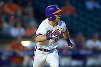 Weston Jackson (15) of the Clemson Tigers hustles down the first base line against the Duke Blue Devils in Game Three of the 2017 ACC Baseball Championship at Louisville Slugger Field on May 23, 2017 in Louisville, Kentucky. The Blue Devils defeated the Tigers 6-3. (Brian Westerholt/Four Seam Images)