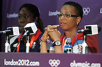 GB Coach Hope Powell (R) and Anita Asante attend the Team GB Women Press Conference at the Millenium Stadium, Cardiff, Wales - 27/07/12 - MANDATORY CREDIT: Gavin Ellis/SHEKICKS/TGSPHOTO - Self billing applies where appropriate - 0845 094 6026 - contact@tgsphoto.co.uk - NO UNPAID USE.