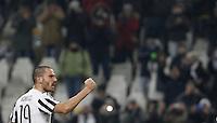 Juventus' Leonardo Bonucci celebrates at the end of the Italian Serie A football match between Juventus and Roma at Juventus Stadium. Juventus won 1-0.