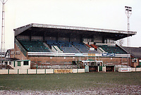 The main stand at Northwich Victoria Football Club, The Drill Field, Northwich, Cheshire, pictured on 23rd January 1988