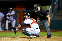 Lansing Lugnuts catcher Andres Sotillo (16) sets a target as home plate umpire Steven Hodgins looks on during the game against the South Bend Cubs at Cooley Law School Stadium on June 15, 2018 in Lansing, Michigan. The Lugnuts defeated the Cubs 6-4.  (Brian Westerholt/Four Seam Images)