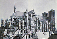 Historical photo of Reims Cathedral before WWI. Originally opened in 1275 but has had many restorations over 800 years. Located in Reims, France.