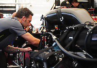 Jul, 10, 2011; Joliet, IL, USA: NHRA funny car crew chief Aaron Brooks for driver Melanie Troxel during the Route 66 Nationals at Route 66 Raceway. Mandatory Credit: Mark J. Rebilas-