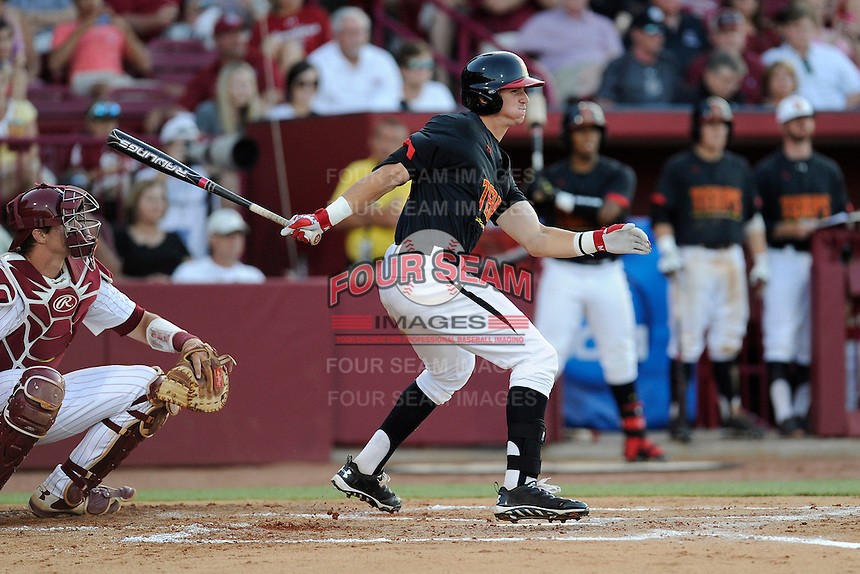 Right fielder Anthony Papio (13) of the Maryland Terrapins in an NCAA Division I Baseball Regional Tournament game against the South Carolina Gamecocks on Sunday, June 1, 2014, at Carolina Stadium in Columbia, South Carolina. The USC catcher is Grayson Greiner. Maryland won, 10-1, to win the tournament. (Tom Priddy/Four Seam Images)