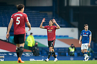 7th November 2020; Liverpool, England;  Manchester Uniteds Edinson Cavan celebrates after scoring during the Premier League match between Everton and Manchester United at Goodison Park Stadium