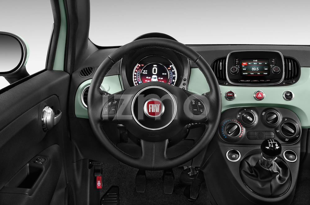Car pictures of steering wheel view of a 2016 Fiat 500 Sport 3 Door Hatchback Steering Wheel