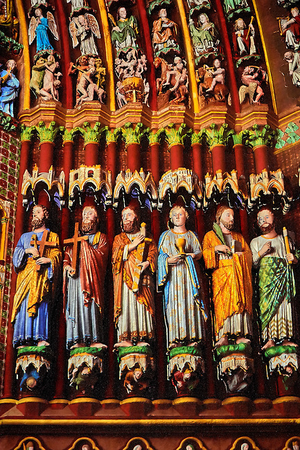 Summer light show showing how the Gothic statues originally looked on the Gothic Cathedral of Notre-Dame, Amiens, France
