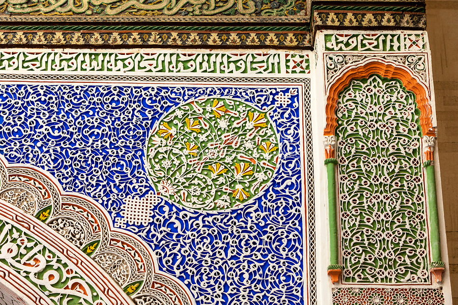 Fes, Morocco.  Stucco Floral Decoration inside the Mausoleum of Moulay Idris II.