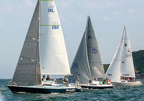 New life for old – Richard Leonard's David Thomas-designed Bolero Bandit, the Bruce Farr 1977-vintage Farrocious, and the Young family's Albin Express North Star racing with Royal Cork YC last Thursday evening