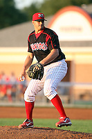 August 26 2008:  Pitcher Adam Veres of the Batavia Muckdogs, Class-A affiliate of the St. Louis Cardinals, during a game at Dwyer Stadium in Batavia, NY.  Photo by:  Mike Janes/Four Seam Images