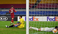 Football Soccer: UEFA Europa League UEFA Europa League Group A  AS Roma vs FCR Cluj, Olympic stadium, Rome, 5 November, 2020.<br /> Roma's Borja Mayoral (l) celebrates after scoring his second goal in the match during the Europa League football match between Roma and Cluj at the Olympic stadium in Rome on  5 November, 2020.<br /> UPDATE IMAGES PRESS/Isabella Bonotto
