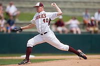 Starting pitcher Joe Mantiply #40 of the Virginia Tech Hokies in action against the Boston College Eagles at English Stadium May 2, 2010, in Blacksburg, Virginia.  Photo by Brian Westerholt / Four Seam Images