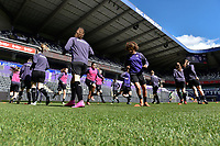 players of Anderlecht pictured during the warming up of a female soccer game between RSC Anderlecht Dames and White Star Woluwe on the 18 th and last matchday before the play offs of the 2020 - 2021 season of Belgian Womens Super League , saturday 27 th of March 2021  in Brussels , Belgium . PHOTO SPORTPIX.BE | SPP | DIRK VUYLSTEKE