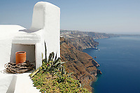 Greek architect Paul Panagiotopoulos restored this old house in the center of Imerovigli, Santorini, and turned it into his own modern retreat for the summer, complete with breathtaking views of Santorini's volcano.