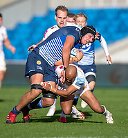 3rd October 2021; AJ Bell stadium, Eccles, Greater Manchester, England: Gallagher Premiership Rugby, Sale v Exeter ;  J-P du Preez of Sale Sharks is tackled by  Marland Yarde of Sale Sharks