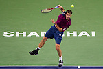 SHANGHAI, CHINA - OCTOBER 14:  Florian Mayer of Germany serves to Jo-Wilfried Tsonga of France during day four of the 2010 Shanghai Rolex Masters at the Shanghai Qi Zhong Tennis Center on October 14, 2010 in Shanghai, China.  (Photo by Victor Fraile/The Power of Sport Images) *** Local Caption *** Florian Mayer