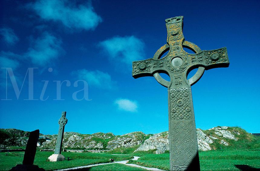 Celtic crosses on the sacred isle of Iona, Inner Hebrides, western Scotland