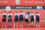 Israel Start-Up Nation at sign on before the start of Stage 1 of the 2021 UAE Tour the ADNOC Stage running 176km from Al Dhafra Castle to Al Mirfa, Abu Dhabi, UAE. 21st February 2021.  <br /> Picture: LaPresse/Fabio Ferrari | Cyclefile<br /> <br /> All photos usage must carry mandatory copyright credit (© Cyclefile | LaPresse/Fabio Ferrari)