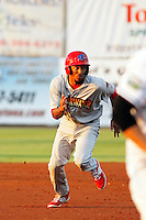 Clearwater Threshers shortstop J.P. Crawford (2) in action during a game against the Daytona Tortugas at Radiology Associates Field at Jackie Robinson Ballpark on May 9, 2015 in Daytona, Florida. Clearwater defeated Daytona 7-0. (Robert Gurganus/Four Seam Images)
