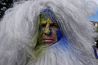Pictured: A flour wars participant in Galaxidi, Greece. Monday 11 March 2019<br /> Re: Clean Monday (Monday of Lent) celebration of flour wars (Alevromoutzouroma) in the town of Galaxidi, which coincides with the beginning of the Greek Orthodox Lent in Greece. The origins of the custom are unclear, however it appears in its current form since the mid-19th century.<br /> Locals and visitors of all ages gather to collect large quantities of flour which they throw to each other. Various types of coloring is added for effect while people paint their faces with charcoal.