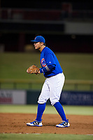 AZL Cubs first baseman Kevin Zamudio (4) on defense during a game against the AZL Athletics on August 9, 2017 at Sloan Park in Mesa, Arizona. AZL Athletics defeated the AZL Cubs 7-2. (Zachary Lucy/Four Seam Images)