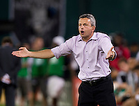 during a Major Chicago head coach Frank Klopas yells to his team during a Major League Soccer game at RFK Stadium in Washington, DC.  The Chicago Fire defeated D.C. United, 3-0.