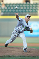 Lynchburg Hillcats starting pitcher Justin Garza (36) delivers a pitch to the plate against the Winston-Salem Dash at BB&T Ballpark on May 3, 2018 in Winston-Salem, North Carolina. The Dash defeated the Hillcats 5-3. (Brian Westerholt/Four Seam Images)