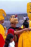 Hula dancing. Hawaiian ceremonies. Kilauea Volcano. Big Island. Hawaii
