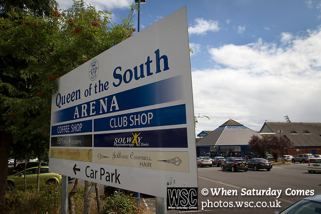 Queen of the South 2 Stranraer 0, 11/08/2015. Scottish Challenge Cup first round, Palmerston Park. A sign outside Palmerston Park, Dumfries, before Queen of the South hosted Stranraer in a Scottish Challenge Cup first round match. The game was the opening match of the season in a competition open to sides below the Scottish Premiership. Queen of the South won the match 2-0, watched by a crowd of 1229 spectators. Photo by Colin McPherson.