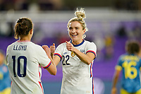 ORLANDO, FL - JANUARY 18: Carli Lloyd #10 and Kristie Mewis #22 of the United States celebrate a Mewis goal during a game between Colombia and USWNT at Exploria Stadium on January 18, 2021 in Orlando, Florida.