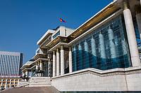Mongolia, Ulaanbaatar. Government Palace in Sukhbaatar Square.