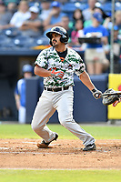 Augusta GreenJackets third baseman Michael Bernal (12) swings at a pitch during a game against the Asheville Tourists at McCormick Field on July 15, 2017 in Asheville, North Carolina. The Tourists defeated the GreenJackets 2-1. (Tony Farlow/Four Seam Images)