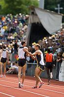 EUGENE, OR--Alan Webb greets Adam Goucher before the men's 2 mile at the Steve Prefontaine Classic, Hayward Field, Eugene, OR. SUNDAY, JUNE 10, 2007. PHOTO © 2007 DON FERIA