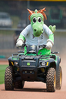 Charlotte Knights mascot Homer the Dragon makes his entrance prior to the Knights game versus the Durham Bulls at Knights Stadium in Fort Mill, SC, Sunday, June 18, 2006.
