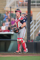 Hagerstown Suns catcher Jakson Reetz (21) yells instructions to his teammates during the game against the Kannapolis Intimidators at Kannapolis Intimidators Stadium on July 4, 2016 in Kannapolis, North Carolina.  The Intimidators defeated the Suns 8-2.  (Brian Westerholt/Four Seam Images)