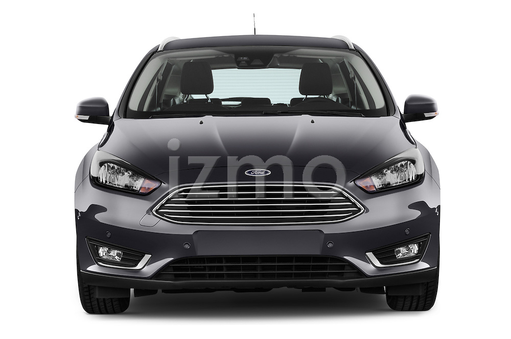 Car photography straight front view of a 2015 Ford Focus Titanium 5 Door Wagon Front View