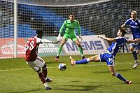 Flo Balogun of Arsenal takes a shot at the Gillingham goal during Gillingham vs Arsenal Under-21, Papa John's Trophy Football at the MEMS Priestfield Stadium on 10th November 2020