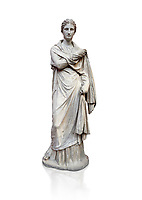 Ancient Greek funerary statue of a women, type Small Herculaneum Woman style. From Delos circa 2nd Cent BC. Athens National Archaeological Museum. Cat No 1827, Against white, <br /> <br /> This marble statue from Delos shopws a women wearing a full length chiton and a himation that covers her entire body and arms. This style of statue is known os 'Small Herculaneum Woman' and is a copy of a famous original dating from 300 BC.