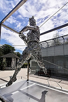 28th May 2021; Roland Garros, Paris, France: On Thursday 28th May, a statue of Rafael Nadal was unveiled at Roland Garros. Placed next to the new general public entrance gate and the Jardin des Mousquetaires, the statue was sculpted by Jordi Diez Fernandez and Nadal was present, alongside FFT President Gilles Moretton, tournament director Guy Forget and Diez Fernandez.