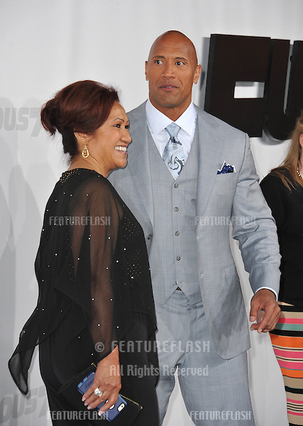 """Dwayne Johnson & mother at the world premiere of his movie """"Furious 7"""" at the TCL Chinese Theatre, Hollywood.<br /> April 1, 2015  Los Angeles, CA<br /> Picture: Paul Smith / Featureflash"""