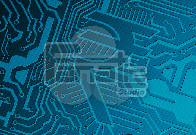 Blue computer circuit board with rupee symbol representing IT industry