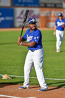 Cristian Gomez (14) of the Ogden Raptors before the game against the Grand Junction Rockies in Pioneer League action at Lindquist Field on August 26, 2016 in Ogden, Utah. The Raptors defeated the Rockies 6-5. (Stephen Smith/Four Seam Images)