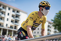 yellow jersey / GC leader Wout van Aert (BEL/Jumbo - Visma) at the race start in Vienne<br /> <br /> Stage 2: Vienne to Col de Porte (135km)<br /> 72st Critérium du Dauphiné 2020 (2.UWT)<br /> <br /> ©kramon