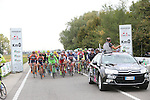 Km0 and the start of the 2015 96th Milan-Turin 186km race starting at San Giuliano Milanese, Italy. 1st October 2015.<br /> Picture: Claudio Peri/ANSA | Newsfile