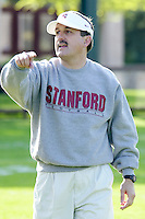 Mike Sanford coaches on the first day of spring practice on April 3, 2002 at Stanford.<br />Photo credit mandatory: Gonzalesphoto.com