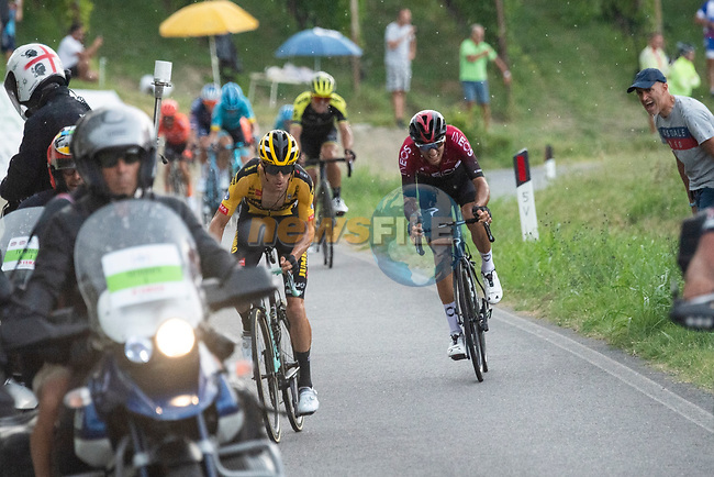 George Bennett (NZL) Team Jumbo-Visma attacks Gianni Moscon (ITA) Team Ineos on the final climb during the 104th edition of GranPiemonte 2020, running 187km from Santo Stefano Belbo to Barolo, Italy. 12th August 2020.<br /> Picture: LaPresse/Marco Alpozzi | Cyclefile<br /> <br /> All photos usage must carry mandatory copyright credit (© Cyclefile | LaPresse/Marco Alpozzi)