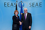 Brussels-Belgium - January 07, 2014 -- Frank-Walter STEINMEIER (ri), German Foreign Minister, travels to Brussels for his first official visit since returning to office and meets the top officials of the European institutions; here, with HRVP Catherine ASHTON (le), High Representative of the European Union for Foreign Affairs & Security Policy/Vice-President of the European Commission -- Photo: © HorstWagner.eu